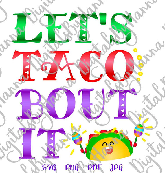 Taco Instant Download Die Cut Iron on Vinyl Card Making