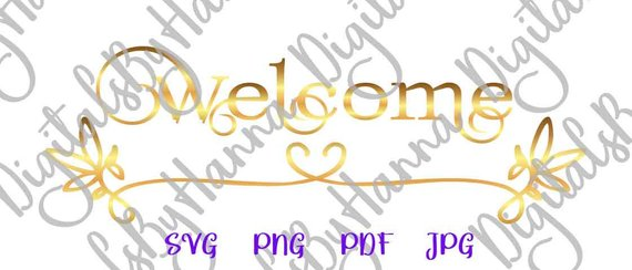 Welcome Instant Download Die Cut Iron on Vinyl Card Making