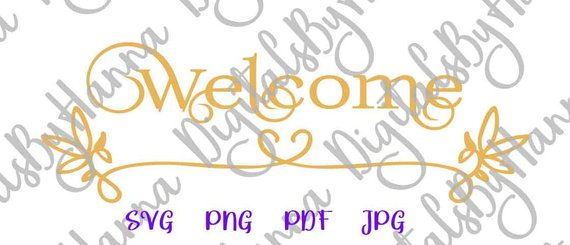 Welcome Vector Clipart Door SVG File for Cricut