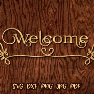 Welcome Vector Clipart SVG File for Cricut Door