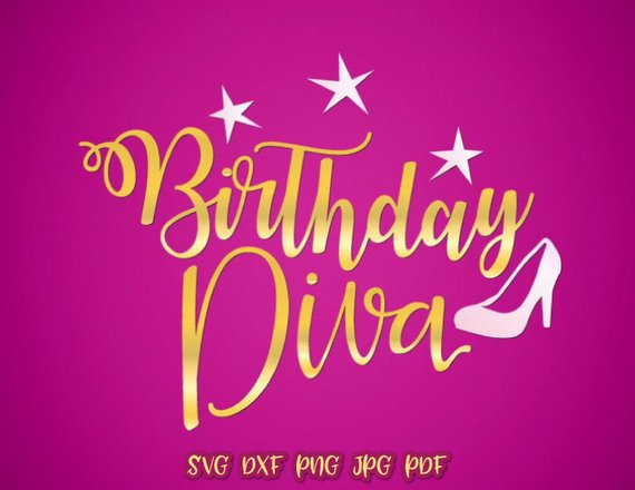 birthday diva qeen ladies vector clipart svg file for cricut