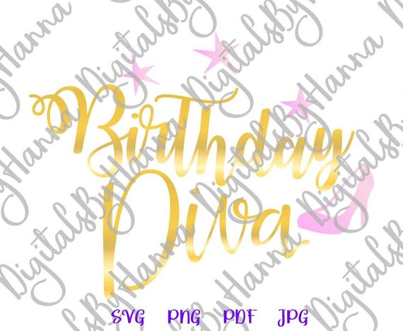 birthday diva svg women ladies sign iron on transfers