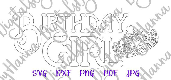 birthday girl baby 1st clipart silhouette dxf digital clipart gift