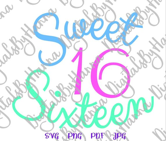 birthday girl sweet 16 clipart sash print iron on transfers