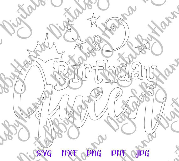 birthday queen crown silhouette dxf collage clipart ladys quote