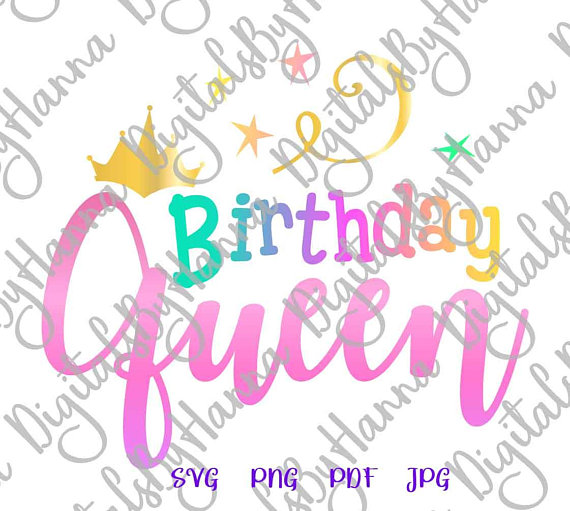 birthday queen svg crown ladys quote vector gift outfit