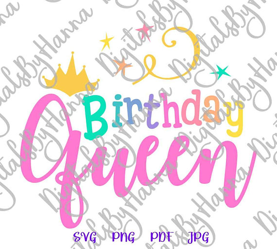 birthday queen women gift svg print iron on transfers