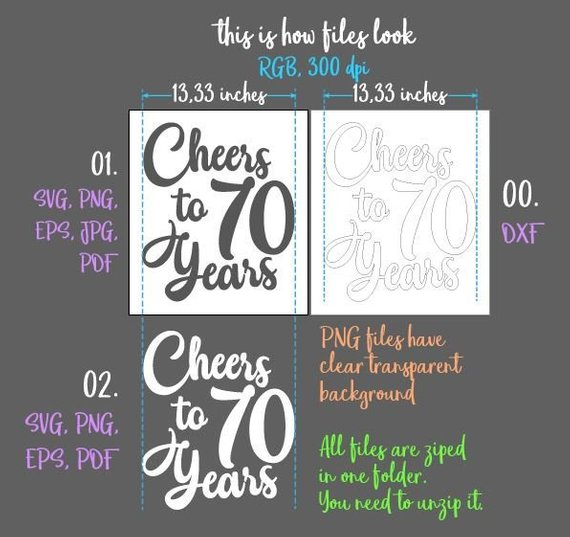 cheer seventy year 70th birthday svg card gift invitation banner sign print silhouette dxf laser cut