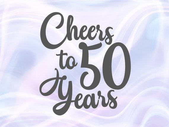 Cheers to 50 Year Invitation 50th Birthday SVG Shirt Wine Glass Lettering Fifty