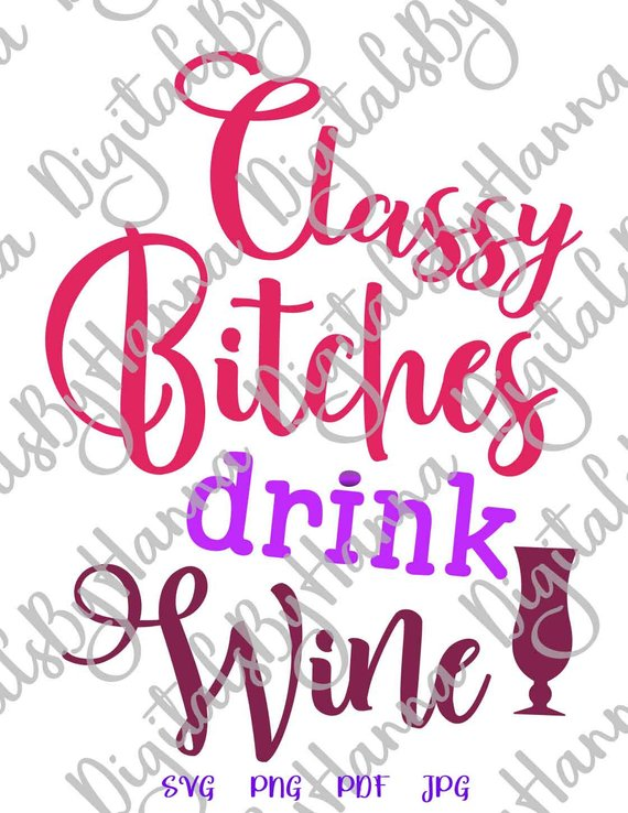 classy bitches drink wine alcohol lover iron on transfers
