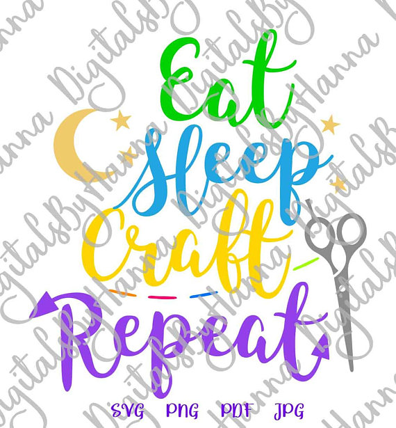 crafty girl quote svg files for cricut eat sleep craft repeat