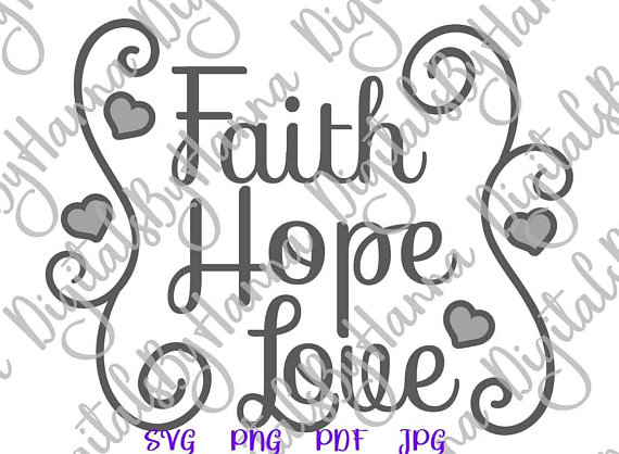 faith hope love svg religious christian lettering word sign