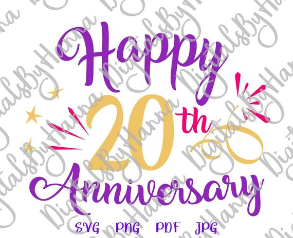 happy 20th anniversary svg files for cricut gift him her vector clipart