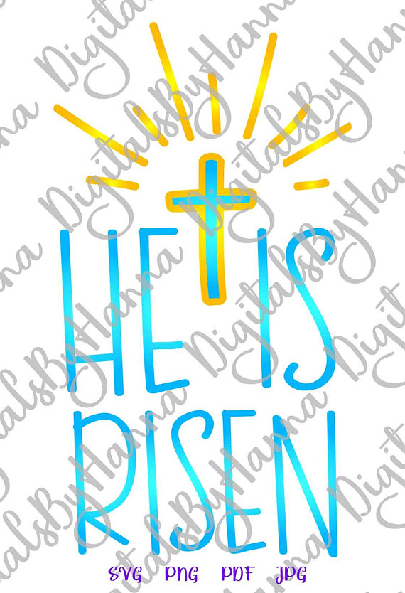 he is risen cross clipart religious christian jesus iron on transfers
