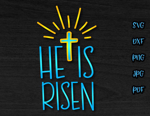 He Is Risen Cross Clipart Religious Christian Jesus Word