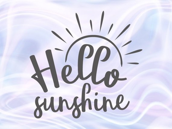 Hello Sunshine SVG Sunshine Baby Shower Wall Art Lettering Calligraphy Use Print
