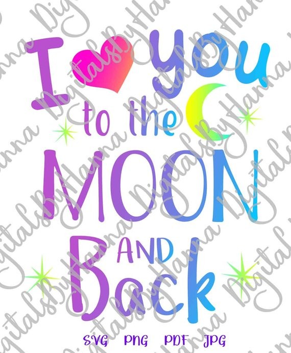 i love you to the moon and back vector clipart svg honeymoon