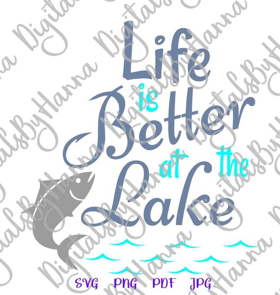 life is better at the lake camping clipart fisherman print