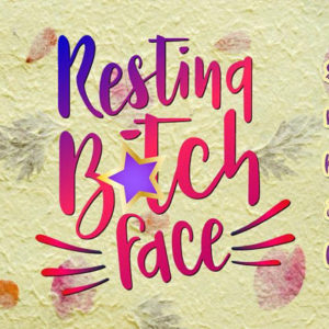 resting bitch face vector clipart svg file for cricut