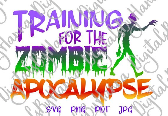training for the zombie apocalypse vector clipart svg file for cricut
