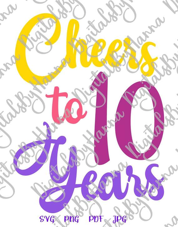 10th birthday svg files for cricut 10 years sign banner word print clipart