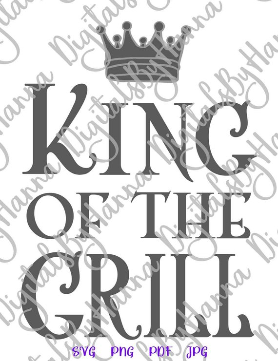 bbq svg file for cricut saying king of the grill master apron gift print