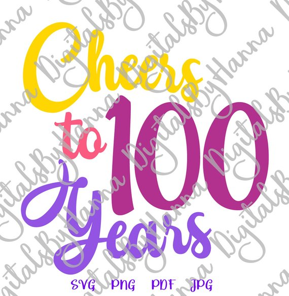 cheers to 100 year her him invitation lettering word print silhouette