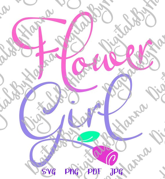 flower girl svg proposal team bride tribe sign word print