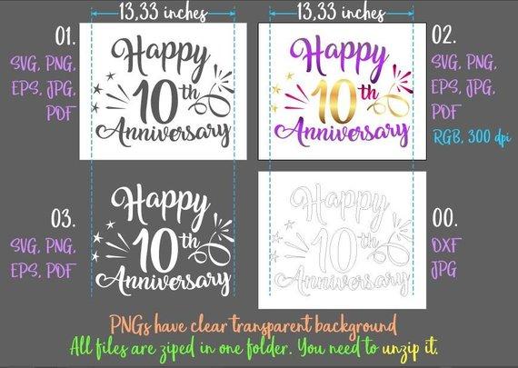 happy 10th anniversary svg ten year wording gift greeting invitation silhouette cut