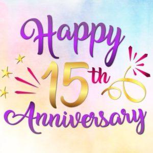 Happy 15th Anniversary SVG Crystal Wedding Fifteen Years Gift Greeting Invitation