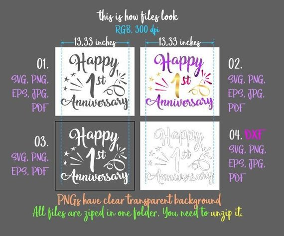 happy 1st anniversary svg one year wording gift greeting invitation silhouette cut