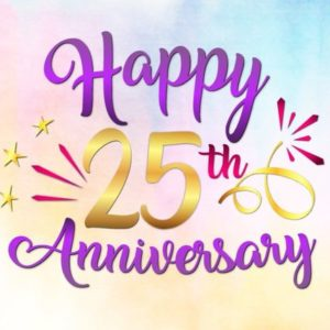 Happy 25th Anniversary SVG Silver Wedding Twenty Five Year Gift Greeting Invitation