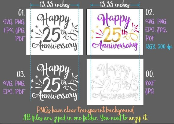 happy 25th svg twenty five year wording gift greeting invitation silhouette cut