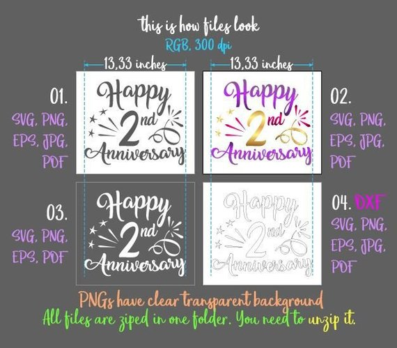 happy 2nd anniversary svg second two year wording gift greeting invitation silhouette cut