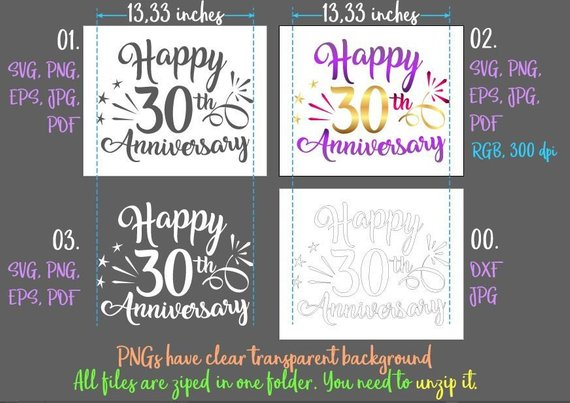 happy 30th anniversary svg thirty year wording gift greeting silhouette cut