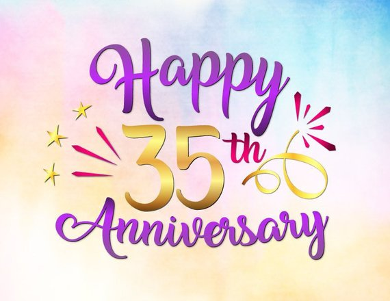 Happy 35th Anniversary SVG Jade Coral Wedding Thirty Five Years Greeting Invitation