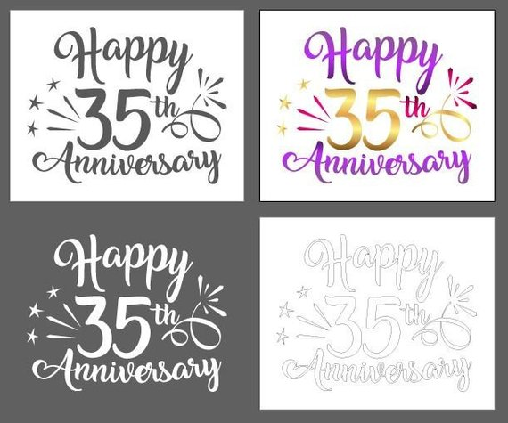 happy 35th anniversary svg thirty five years greeting invitation silhouette cut
