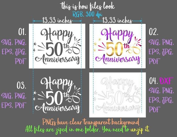 happy 50th anniversary svg fifty wording greeting invitation mockup silhouette cut