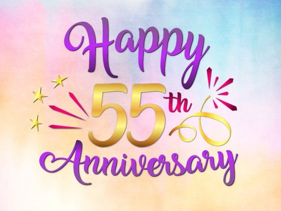 Happy 55th Anniversary SVG Emerald Wedding Fifty Five Years Greeting Invitation