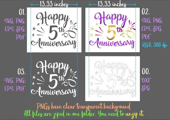 happy 5th anniversary svg wood wedding fifth years greeting invitation silhouette cut