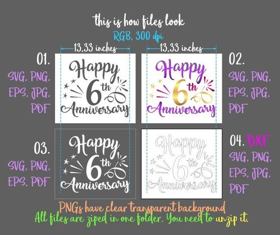 happy 6th anniversary svg six years lettering gift greeting invitation silhouette cut
