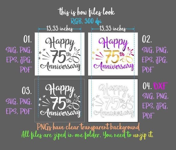 happy 75th anniversary svg seventy five year gift greeting invitation silhouette cut