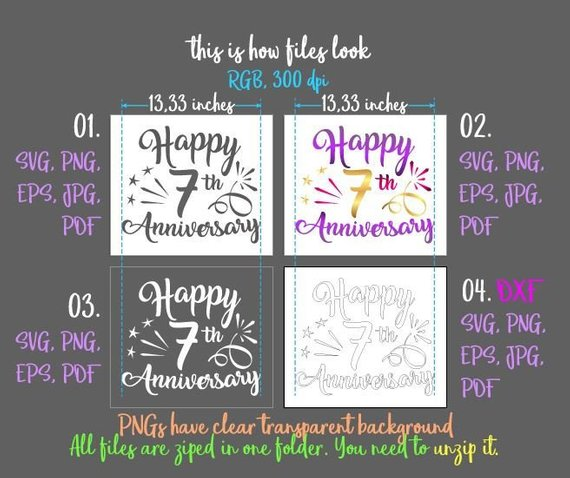 happy 7th anniversary svg wool copper wedding seven years