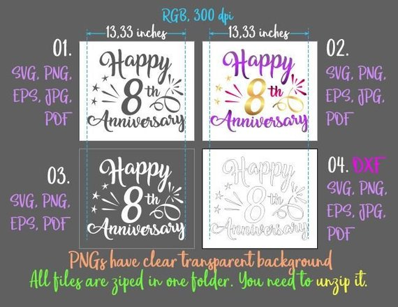 happy 8th anniversary svg eight years gift greeting invitation silhouette