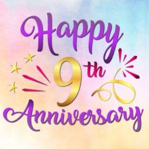 Happy 9th Anniversary SVG Pottery Copper Wedding Nine Years Greeting Invitation
