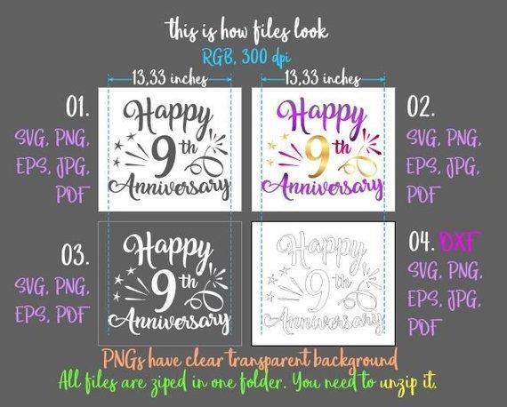 happy 9th anniversary svg nine years gift greeting invitation silhouette cut