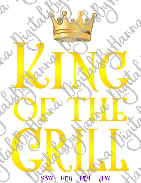 king of the grill svg master apron sign lettering barbecue grilling gift print