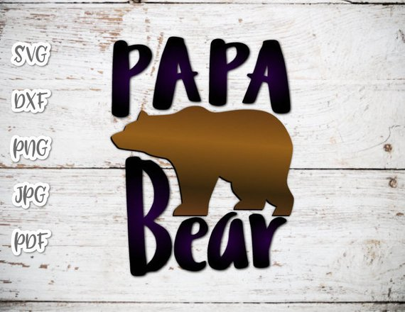 Papa Bear SVG Files for Cricut Saying Dad Baby Shower New Father Daddy t-Shirt