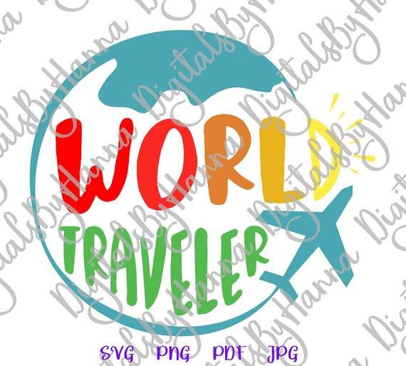 wanderlust svg saying world traveler svg travel sign lettering word tee tshirt globe plane