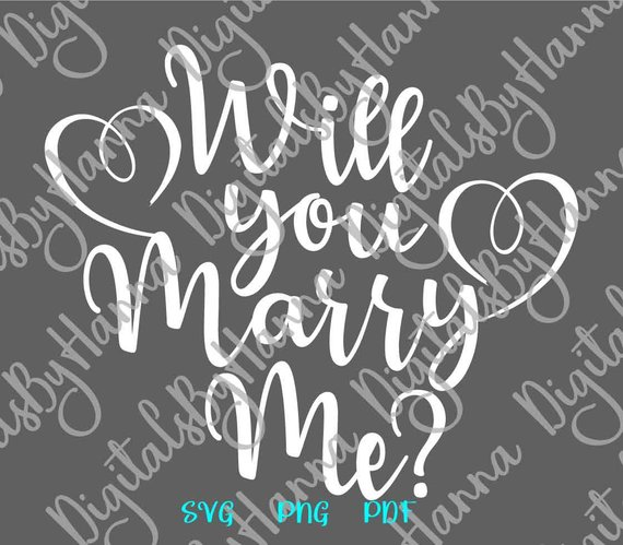 will you marry me svg hand lettering wedding calligraphy heart print